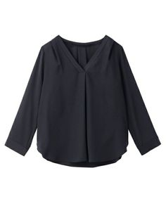 INDIVI(インディヴィ)の[S]ノーカラーVネックデシンシャツ(シャツ/ブラウス)|ブルー