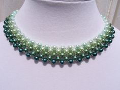 Palest Green to Teal Ombre Pearl Beadwork by BellaLucaDesigns