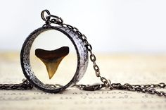 SALE- Great white shark tooth jewelry- Shark tooth resin necklace- Copper tubing pendant- Copper pipe pendant