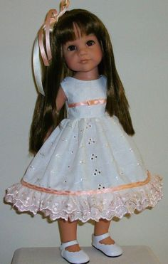 "peaches  cream dress  hair slide fits 18-20"" Dolls Designafriend/Gotz hannah"