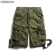 AIRGRACIAS Summer Men's Fashion Military Cargo Short Pants 100% Cotton Solid Color Multi-Pockets Loose Casual Cargo Shorts Pants #Affiliate