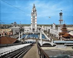 "New York circa 1905. ""Dreamland Park, Coney Island"" (original image). It's hard to believe it all burned to the ground. This was one heck of a coloring job but I was intrigued to see Dreamland as it might have been. If only we could visit this amazing place."