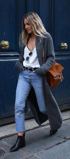 fall street style maxi cardigan. cami top. vintage denim.