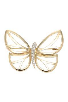 Gold Diamond Butterfly Brooch