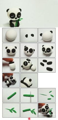 clay or marzipane panda tutorialpâte fimo Awh this is too cute xxx: # Eye shadow and eye colors # make-up # adjustment. Tuto Amigurumi – Sam the little bear –.Awh c& trop mignon xxx:Most inspiring pictures and photos!Panda - how to make a panda Diy Fimo, Crea Fimo, Cute Polymer Clay, Polymer Clay Animals, Cute Clay, Fimo Clay, Polymer Clay Charms, Polymer Clay Projects, Polymer Clay Creations