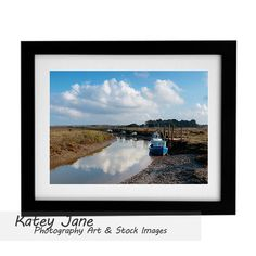 Thornham boats & marsh North Norfolk, framed A3 + prints