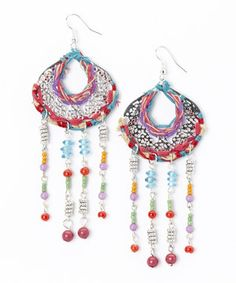 Another great find on #zulily! Purple & Orange Stitch Filigree Drop Earrings by Turkish Delight #zulilyfinds