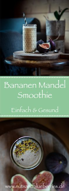 A simple banana almond smoothie - nutsandblueberries Vegan Lunch Recipes, Fruit Recipes, Healthy Recipes, Healthy Food, Vegan Sweets, Healthy Smoothies, Smoothie Recipes, Vegan Egg Substitute, Vegan Stew