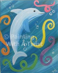 **WINTER BREAK KID'S KAMP** Dex the Dophin - Farmington Painting Class - Painting with a Twist - Painting with a Twist