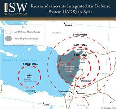 Дальность действия российских систем ПВО С-300, С-400 и комплекса береговой обороны «Бастион» в Сирии. |