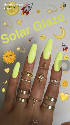 In search for some nail designs and ideas for your nails? Here's our list of 15 must-try coffin acrylic nails for fashionable women. Dope Nails, My Nails, Neon Nails, Neon Yellow Nails, Pastel Nails, Pastel Yellow, Pastel Art, Glitter Nails, Cute Acrylic Nails