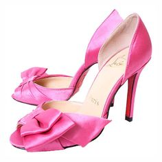 Christian Louboutin Pink Bow Satin d'Orsay Sandals [CLE001] - $115.49 : Designershoes-shopping, World collection of Top Designer high heel UP TO 90% OFF!