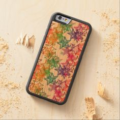 Cute Retro Abstract Rainbow Colors Stars Pattern Carved® Cherry iPhone 6 Bumper