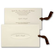 A ecru invitation with ribbon is enclosed in a pocket with an oval to peek through. Wedding Invitations, Invites, Place Card Holders, Contemporary, Pocket, Ribbons, Wedding Ideas, Bias Tape, Grinding