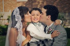 bride and groom with ring bearer- want one with each of my flower girls too