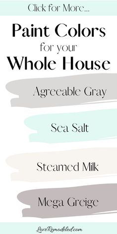 Coordinating Paint Colors for Your Whole House - This list has all the most gorgeous colors for your home. Check out the post – it has additional - Coastal Paint Colors, Greige Paint Colors, Farmhouse Paint Colors, Kitchen Paint Colors, Paint Colors For Living Room, Paint Colors For Home, Paint Color Schemes, House Color Schemes, Coordinating Paint Colors