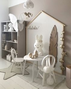 Adorable kids playroom decor! Very neutral but also whimsical and childish. A room like this is sure to grow with your child!