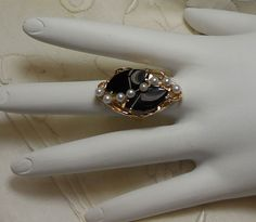 Rod Stelter Estate Collection - Marquise Cut Onyx & Pearl Ring - 14kt Yellow Gold https://www.facebook.com/RodStelterJeweler/