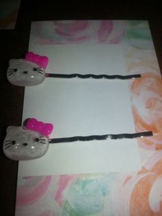 Hello Kitty Glitter Hair Pins by FrankieBeanz on Etsy, $3.99