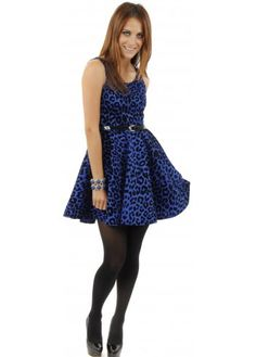 Designer Desirables Blue Flock Leopard Print Belted Skater Dress Skater  Dresses bf444225e