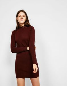 High neck cotton dress. Discover this and many more items in Bershka with new products every week