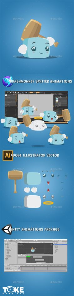 Boky The Cube - Sprites #Game Assets Download here:  https://graphicriver.net/item/boky-the-cube/17033789?ref=alena994