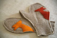 Woodland Mitts. Gorgeous recycling of old sweater!