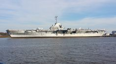 USS Yorktown (CV-10) as seen from Charleston Harbor