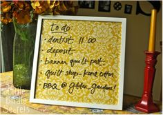 Take a simple frame, add scrapbook paper, and use as a dry-erase board to make lists or leave a note for your roommate!