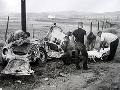 James Dean's Porsche 550 Spyder in the crash that killed him, San Luis Obispo County, California, September 30, 1955