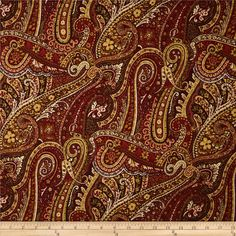 Duralee Pacific Fish Paisley Rouge from @fabricdotcom  Screen printed on cotton/linen blend; this fabric is perfect for window treatments (draperies, valances, curtains and swags), toss pillows, duvet covers, upholstery and other home décor accents. Colors include ivory, gold, burgundy, tan, sienna and red.