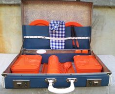 Items similar to Sky Blue Vintage Picnic Case on Etsy
