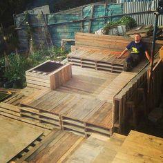 Pallet seating/decking area - in progress - Woodworking Talk - Woodworkers Forum Wood Pallet Art, Pallet Crafts, Diy Pallet Projects, Wood Pallets, Pallet Ideas, Wood Projects, Wood Interior Walls, Dark Wood Bedroom Furniture, Pallet Furniture