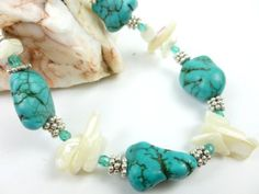 Kingman Blue Nugget Turquoise White Mother of Pearl Sterling Bracelet | dianesdangles - Jewelry on ArtFire