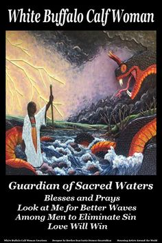 White Buffalo Calf Woman Guardian of Sacred Waters. Woman Singing, The Guardian, Buffalo, Calves, Around The Worlds, Water, Sky, Posts, Facebook