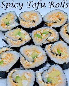 Spicy Tofu Rolls: Vegan Sushi Recipe – Miss Frugal Mommy Vegan Sushi Rolls, Tofu Sushi, Vegan Foods, Vegan Dishes, Vegan Vegetarian, Vegetarian Sushi Recipes, Vegan Japanese Food, Japanese Vegetarian Recipes, Dessert Chef