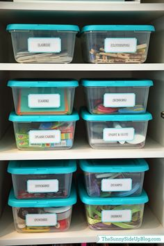 Sunny Side Up: Organized craft/school supplies (labeled containers give everything a happy home!)
