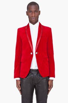 BALMAIN Red Silk trim Velvet Blazer