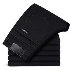 New Men Jeans Black Jeans Trousers Men Clothes Elasticity Skinny Business Casual Male Denim Slim Pants Classic Homme Pantalones Casual Jeans, Jeans Style, Men Casual, Skinny Jeans Negros, 2pac T Shirt, Camouflage Cargo Pants, Men Trousers, Men Pants, Business Casual Men