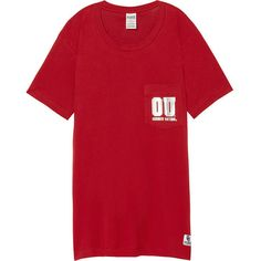 PINK University Of Oklahoma Campus Short Sleeve Tee ($33) ❤ liked on Polyvore featuring white