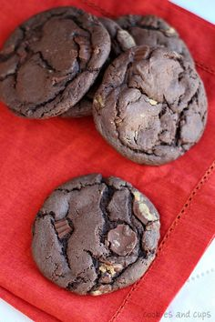 Peanut butter cup chocolate cake mix cookies. These sinfully chocolate cookies look super easy to make!