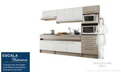 Cozinha Americana Compacta com Bancada e 2 Cadeiras Branco/Terracota - Caaza | Lojas KD