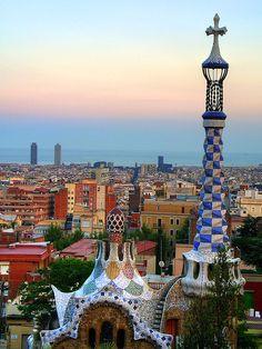 Park Güell sunset, Barcelona, Catalonia, Spain (Gaudi)