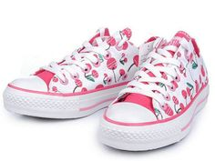 1ad9fc774234 White All Star Low Top With Pink Cherries Canvas Shoes