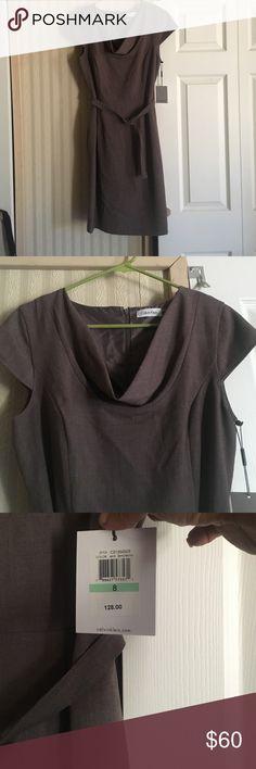 Calvin Klein dress NWT. More of a taupe color, than brown. Calvin Klein Dresses Midi