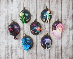 Steven Universe Polymer Clay Pendants including Steven, Pearl, Rose, Amethyst, Garnet, Peridot and Lapis Lazuli