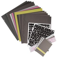 Black Noir Designer Collection This collection includes one package of each of the Black Noir Designer products: Designer Cardstock, Solid Cardstock, Border Strips, Journal Cards, Refill Pages, White Alphabet Stickers and Black Alphabet Stickers. Products may also be purchased separately.
