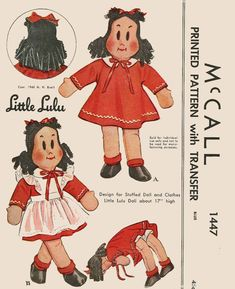 "McCall 1447 Original 1948 Vintage Little Lulu 17"" Cloth Doll Sewing Pattern."