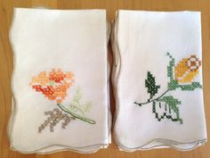 Set of 8 Linen Cross Stitched Napkins in Coordinating Flower Designs by Finderie on Etsy, $8.00
