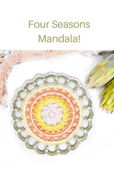 Beautiful free pattern by Ana from One Skein of Love Crochet Mandala, Crochet Designs, Four Seasons, Free Pattern, Beautiful, Seasons Of The Year, Sewing Patterns Free